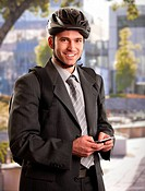 Businessman going to work by bike