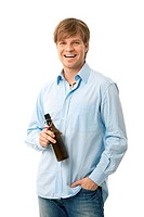 Casual young man with bottle of beer