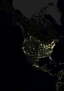 North America At Night With Country Borders, True Colour Satellite Image. True colour satellite image of North America at night with country borders. ...