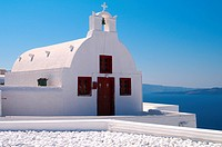 Beautiful white church in Oia village