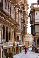 Havelis, at left patwa ki haveli,Jaisalmer, Rajasthan, India