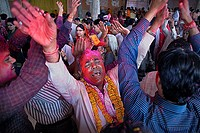 Celebrating holi ,Govind Devji temple,Holi festival,near City Palace,Jaipur, Rajasthan, India