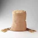 Hessian sack of brown rice