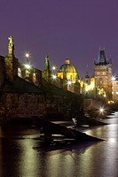 architecture, bridge, Charles bridge, cities, city, cityscape, color, Czech republic, dusk, Europe, exterior, illuminated, outdoor, outdoors, outside,...