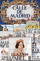 Spain, Madrid, Street sign, Calle de Madrid