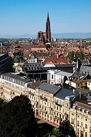German district and cathedral panorama, Strasbourg, Alsace, France