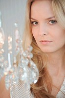 Woman with crystal chandelier