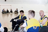 Para rugby team talking during time_out