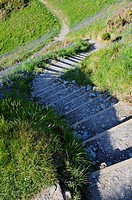 Steps on the South West Coast Path at Bull Point near Mortehoe, Devon, England, United Kingdom