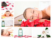 Collage of a charming blond woman relaxing in a spa centre
