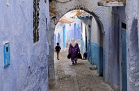 Morocco, Chefchaouen, Street Scene in the Medina