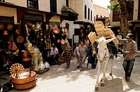 Morocco, Fez, Place as Seffarine, The Brassmakers Souq, Street Scene with Horse Carrying Planks of Wood