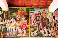 Thailand, Town of Pai in Mae Hong Son Province, Murals inside Wat Phra That Mae Yen