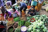 Burma, Myanmar, Shan state, Inle Lake, village of Ywama, market