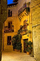 Night view of a typical street in Sos del Rey Catolico, Cinco Villas, Zaragoza province, Aragon, Spain