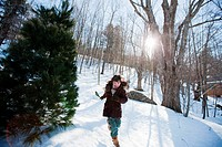 Girl running in snow