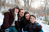 Family in snow, portrait