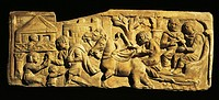 Roman civilization. Relief portraying arrival at a 'mansio' (an official stopping place on a Roman road).  Rome, Museo Della Civiltà Romana (Museum Of...
