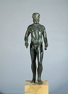 Etruscan civilization, 5th century b.C. Bronze statue depicting an athlete, from Quarata (Arezzo Province).  Paris, Musée Du Cabinet Des Medailles De ...