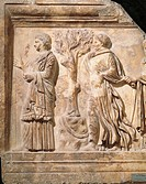 Roman civilization, 2nd century b.C.-1st century A.D. Relief depicting the Hesperides.  Rome, Museo Nazionale Romano (National Roman Museum, Archaeolo...