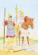 Carthaginian empire. Heavy infantry and élite Sacred Band cavalry. Color illustration