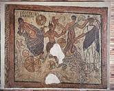 Roman civilization, 4th century A.D. Mosaic with Bacchic scene, signed with the name of the artist. From Merida, Spain.  Mérida, Museo Nacional De Art...