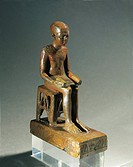 Egyptian civilization, Late Period. Statue of Imhotep, architect who designed the Step Pyramid at Saqqara and author of earliest medical treatises, co...
