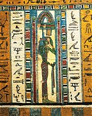Egyptian civilization, Late Period, Dynasty XXVI. Sarcophagus of Usai. Panel detail with goddess Isis. From Thebes. Plastered and painted wood.  Bolog...