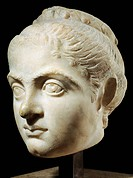Marble head of young woman identified as wife of Roman emperor Constantine I, empress Fausta