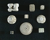 Roman civilization, 1st-3rd century A.D. Game objects made from ivory: dice, knucklebones (astragaloi) and counters. From Volubilis (Morocco).  Rabat,...