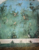 Roman civilization, 1st century b.C. Fresco depicting garden with fruit trees and birds. From Rome, Triclinium of the House of Livia. Detail.  Roma, M...