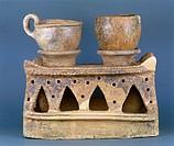 Etruscan civilization, 7th century b.C. Impasto cooker, from Vetulonia, Tuscany region, Italy.  Grosseto, Museo Archeologico E D'Arte Della Maremma (M...