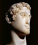 Egyptian civilization, Ptolemaic Period, 2nd century b.C. Marble head of Ptolemy VI (176-145 b.C.)  Alexandria, Greek-Roman Museum
