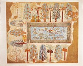 Nina M. Davies (1881-1965), Ancient Egyptian Painting, Chicago,1936. Plate: pond in a garden. Replica of fresco from Thebes, tomb of Nebamon, New King...