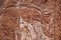 Libya - Sahara Desert - Fezzan. Rock art at Wadi Mathendush. Elephant