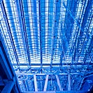 Abstract blue ceiling and wall construction