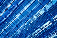 Abstract blue diagonal ceiling and wall construction