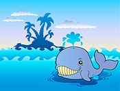 Big cartoon whale in sea _ color illustration.
