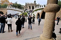 Park Güell. Garden complex with architectural elements situated on the hill of el Carmel. Designed by the Catalan architect Antoni Gaudí and built in ...