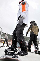 Snowboarders. La Molina ski resort, Cerdanya, Girona province, Catalonia, Spain