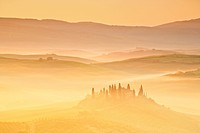 Italy, Toscana, scenery, avenue. Cypress, cultivation, farmhouse, field, grain, good house, house, home, agriculture, morning mood, fog, fog patches, ...