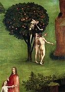 Hieronymus Bosch (1450-1516), Triptych of the Judgement, central panel: The Last Judgement. Detail: Adam and Eve receiving the Apple from the Snake, 1...