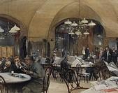 Reinhold Volkel (1873-1938), Café Griensteidl, Vienna, 1896. Watercolor. Detail.  Vienna, Historisches Museum Der Stadt Wien (History Museum)