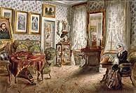 Austria - 19th century. Biedermeier Room, 1855. Watercolor.  Vienna, Historisches Museum Der Stadt Wien (History Museum)