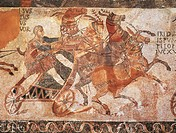 Hispanic-roman art - 3rd century a.D. Carriage race. Mosaic-work.  Madrid, Museo Arqueológico Nacional