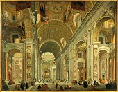 Giovanni Paolo Pannini (1691-1765), Interior of St. Peter's Basilica, Rome.  Venice, Ca' Rezzonico (Museo Del Settecento Veneziano, Art Museum)