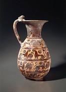 Civilization 'Etruscan, sixth century BC painter Vitelleschi. Olpe Accessibility. Ceramica Etrusco-Corinthian.  Tarquinia, Museo Archeologico (Archaeo...