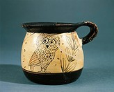 Greek civilization, the fifth century BC black-figure pottery. Mug with zoomorphic depiction of an owl. From Sicily.  Gela, Museo Archeologico Regiona...
