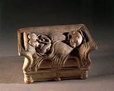 Gallo-Roman art, II-III century AD Terracotta called Lovers of Bordeaux.  Saint Germain-En-Laye, Musée Des Antiquités Nationales (Archaeological And M...