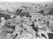 Iraq - Ur. View of the excavations of the ancient Mesopotamian city, 2600-2400 BC  London, British Museum